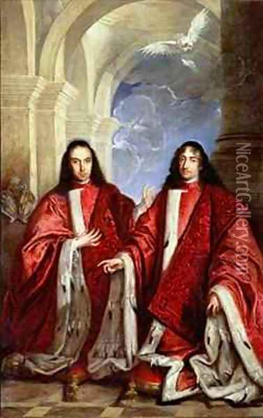 The Holy Spirit above a portrait of two lawyers Oil Painting - Sebastiano Bombelli