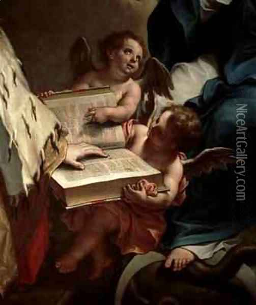 Venice on her Knees in front of the Virgin 2 Oil Painting - Sebastiano Bombelli