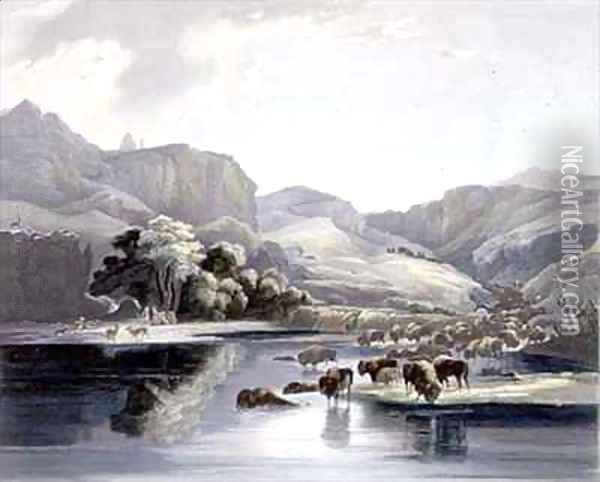 Herds of Bison and Elk on the Upper Missouri Oil Painting - Karl Bodmer