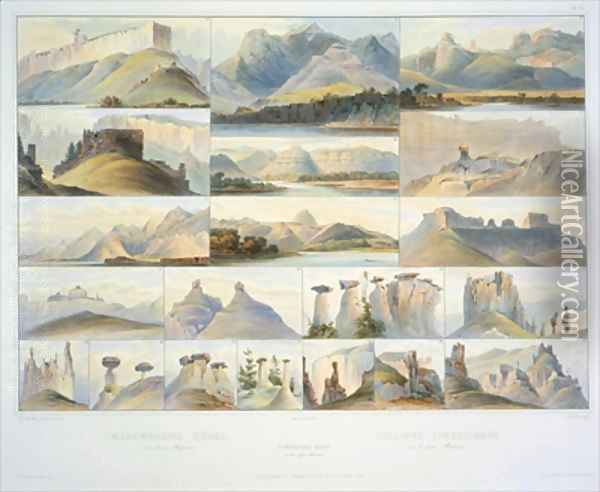 Remarkable Hills on the Upper Missouri Oil Painting - Karl Bodmer