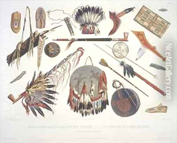 Indian utensils and arms 3 Oil Painting - Karl Bodmer