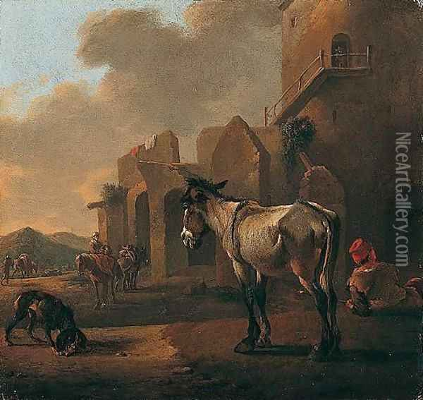 Italianate Landscape With A Donkey Oil Painting - Karel Dujardin