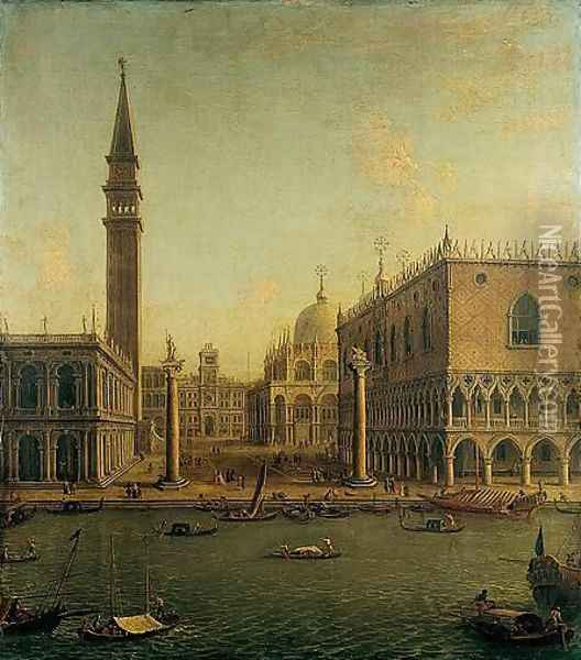 Venice, A View Of The Bacino Di San Marco With The Piazzetta And The Palazzo Ducale Looking North Towards The Torre Dell' Orologio Oil Painting - Antonio Joli