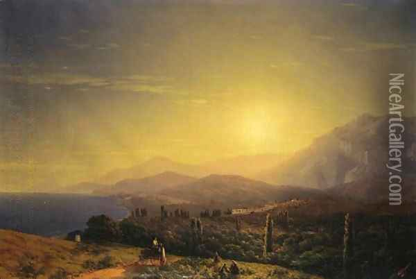 View From The Hills Above Theodosia Oil Painting - Ivan Konstantinovich Aivazovsky