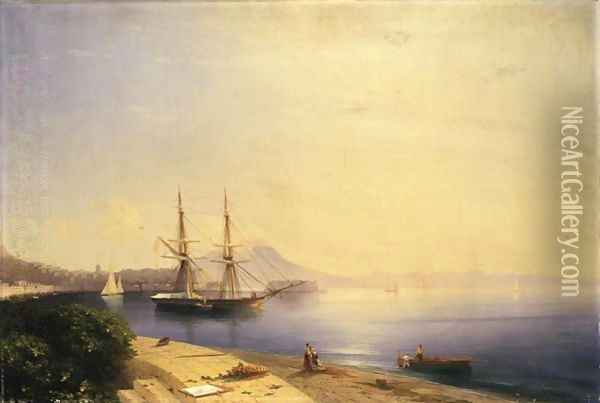 Ship Moored In The Bay Of Naples Oil Painting - Ivan Konstantinovich Aivazovsky