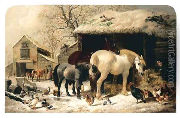 Winter Feed Oil Painting - Henry Woollett