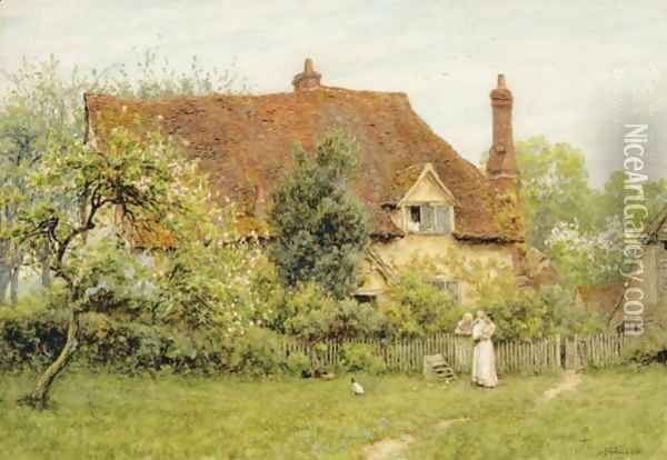 The Old Farm At Pinner Oil Painting - Helen Mary Elizabeth Allingham