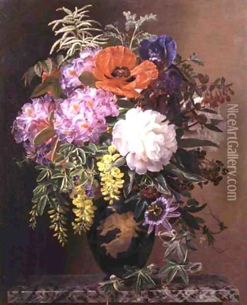 Red, Pink And White Roses And Orange, Yellow And Pink Primroses In An Etruscan Vase On A Marble Base Oil Painting - Johan Laurentz Jensen