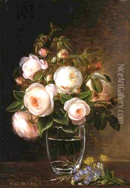 Roses In A Glass Vase With Yellow Buttercups, Forget-Me-Nots And Chickweed On A Marble Ledge Oil Painting - Johan Laurentz Jensen