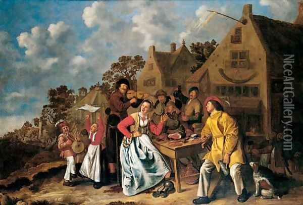 Peasants Feasting And Playing Music Outside A Tavern Oil Painting - Jan Miense Molenaer