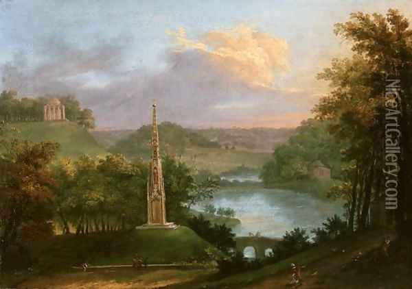 View Of The Park At Stourhead With Figures By The Monument Oil Painting - Copplestone Warre Bamfylde