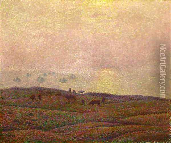 Vaches Dans Un Paysage Oil Painting - Theo van Rysselberghe