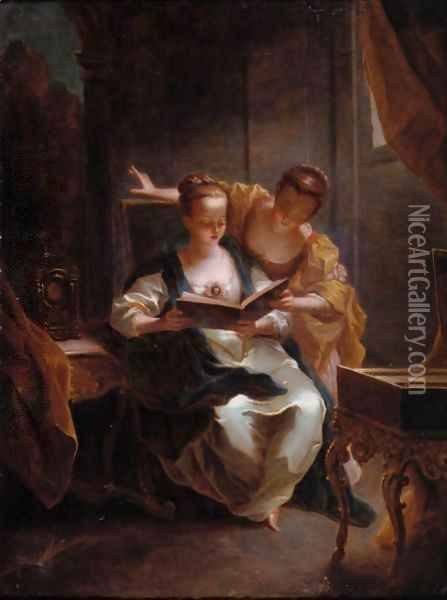 Two Young Ladies Singing In An Elegant Interior Oil Painting - Jean Raoux