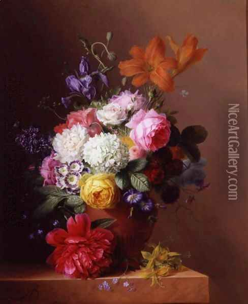 Still Life Of Flowers In A Terracotta Urn Resting On A Marble Ledge Oil Painting - Arnoldus Bloemers