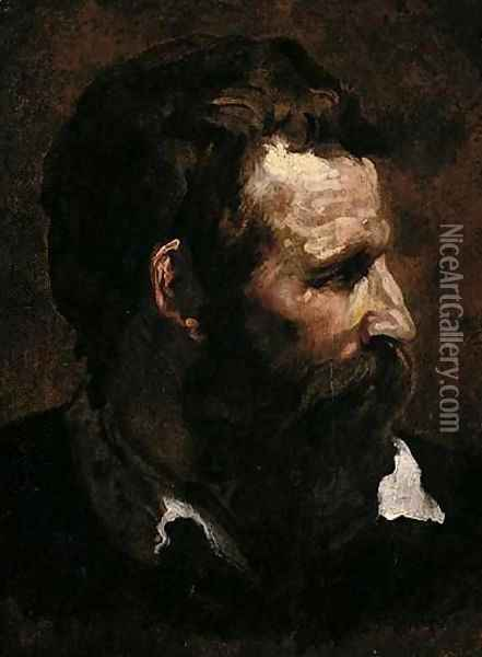 Head Of A Bearded Man In Profile Oil Painting - Domenico Beccafumi