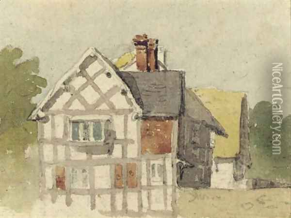 A Half-Timbered Cottage Oil Painting - David Cox