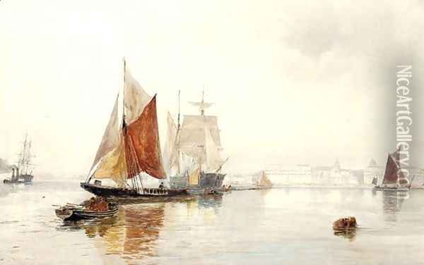 A hazy morning off Greenwich Oil Painting - Thomas Bush Hardy
