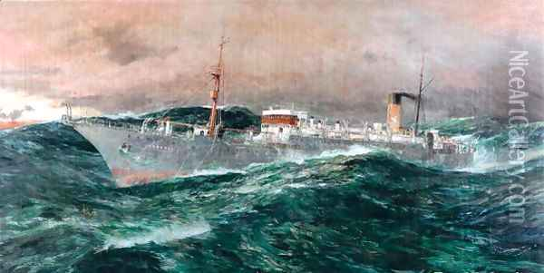 The E C.S. Faraday in a gale, 1929 Oil Painting - Charles Edward Dixon