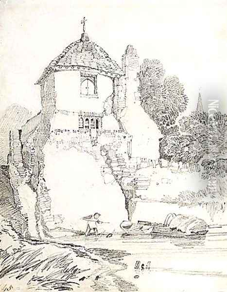 A Child Playing In A River Below A Cottage, Guildford, Surrey Oil Painting - John Sell Cotman
