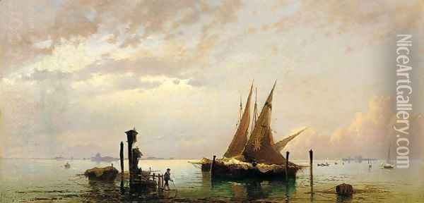 On The Lagoon, Venice Oil Painting - Hermann David Solomon Corrodi
