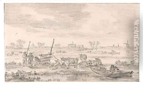 Polder Landscape Oil Painting - Jan van Goyen