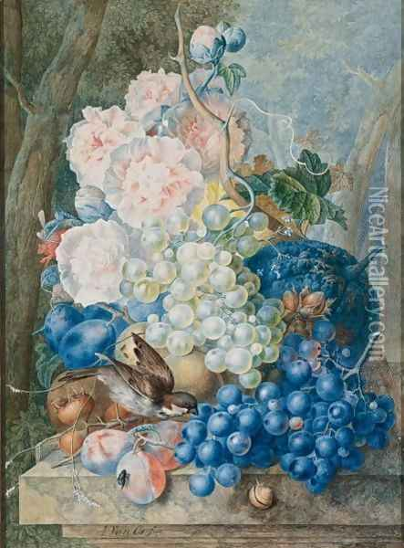 Still Life Of Fruit And Flowers With A Sparrow Oil Painting - Jan van Os
