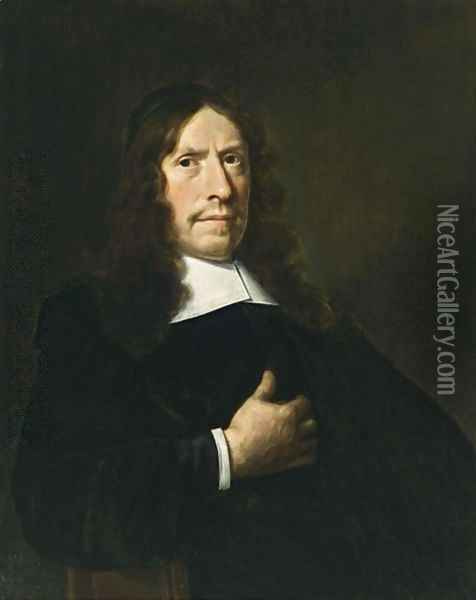A Portrait Of A Cleric, Aged 65, Wearing A Black Coat With A White Collar And Sleeves And A Black Cap Oil Painting - Hendrick Van Vliet