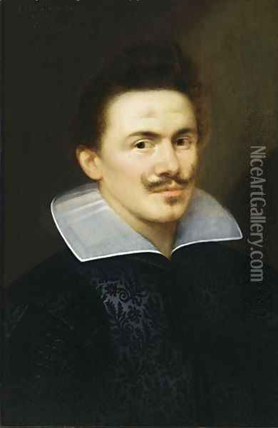 A Portrait Of A Man, Aged 28, Bust Length, Wearing A Black Costume With White Collar Oil Painting - Gortzius Geldorp