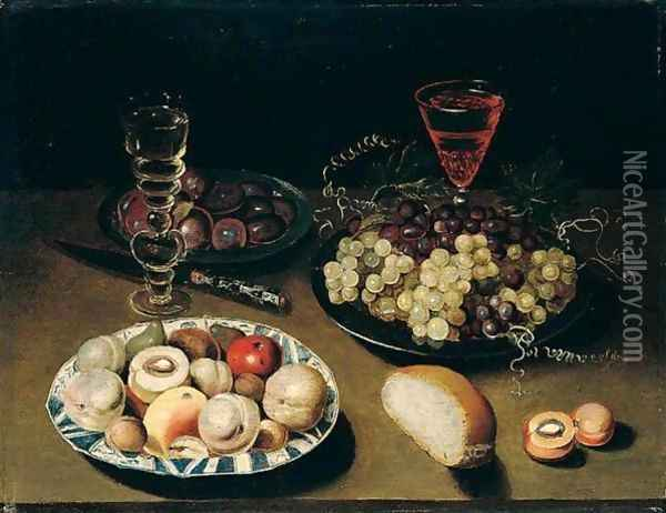 Still Life Of Peaches, Figs, Apples And Walnuts In A Blue And White Porcelain Bowl, Together With Grapes And Plums In Pewter Dishes, Wine Glasses, Bread And A Knife, All Arranged Upon A Table Top Oil Painting - Osias, the Elder Beert