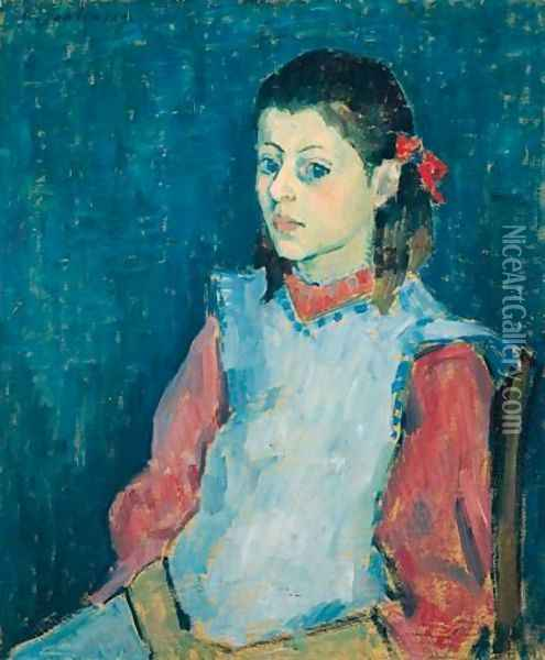 Madchen Mit Weisser SchArze (Girl With A White Apron) Oil Painting - Alexei Jawlensky