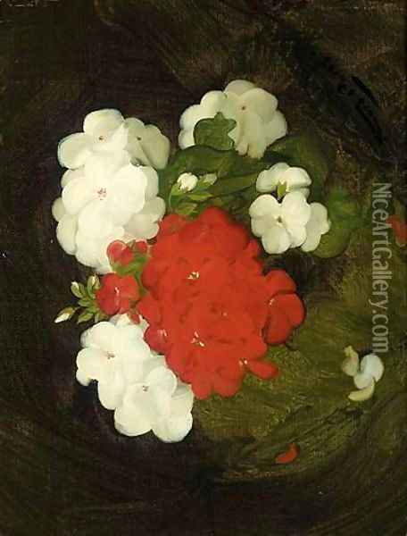 A Still Life Of Geraniums Oil Painting - James Stuart Park