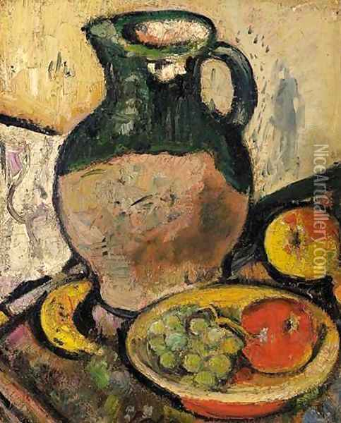 A Still Life Of Fruit And Green Jug Oil Painting - George Leslie Hunter