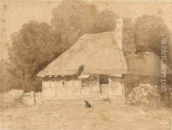 A Dog By A Thatched Cottage Oil Painting - David Cox