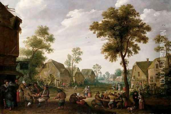 A Crowded Village Scene With Figures Drinking Before A Tavern Oil Painting - Joost Cornelisz. Droochsloot