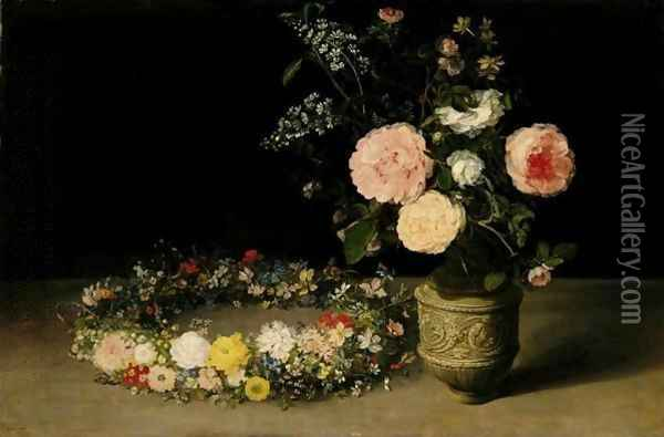 A Still Life Of Roses And Sprays Of Lilac In An Ornamental Stoneware Vase, With A Wreath Of Roses, Forget-Me-Nots, Jasmine, Cyclamen And Other Flowers Resting Nearby, All On A Table-Top Oil Painting - Jan The Elder Brueghel