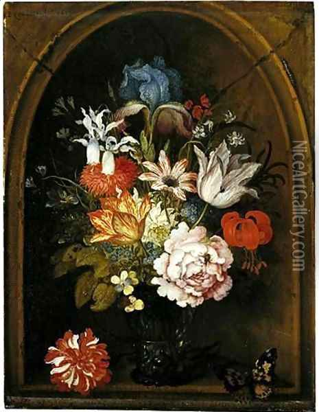A Still Life Of Tulips, A Rose, An Iris, A Fuchsia, Forget-Me-Nots And Other Flowers In A Berkemeijer Glass, Set In A Niche And Flanked With A Carnation And A Butterfly Oil Painting - Balthasar Van Der Ast