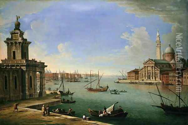 Venice, The Bacino Di San Marco Looking East With The Punta Della Dogana And San Giorgio Maggiore Oil Painting - Antonio Joli