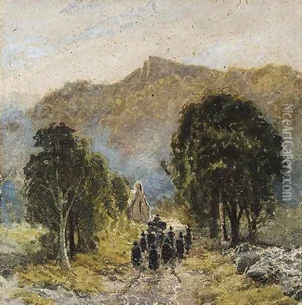 A Funeral At Bettwys-Y-Coed Church, North Wales Oil Painting - David Cox