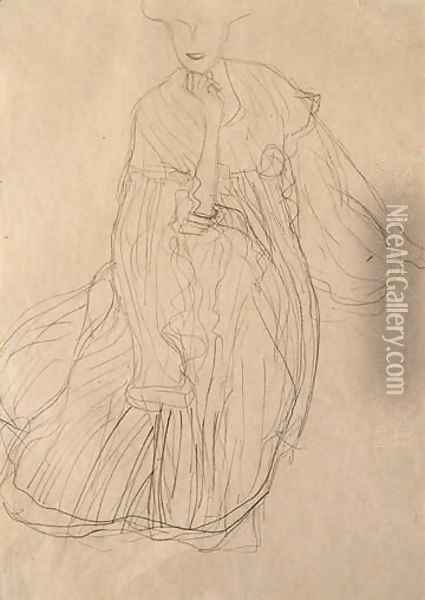 Study For The Portrait Of Adele Bloch-Bauer Seated, From The Front, Her Right Hand Supporting Her Chin Oil Painting - Gustav Klimt