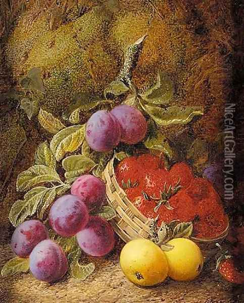 Still Life Of Apples, Plums And Strawberries In Basket Oil Painting - George Clare