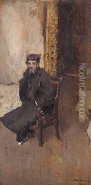 The Artist In His Studio Oil Painting - Jean-Georges Beraud