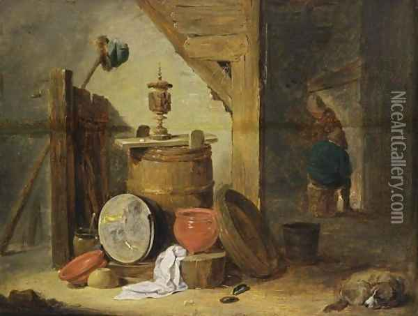 An Interior Of An Inn With A Dog And Kitchen Utensils In The Foreground, Two Figures Near A Fireplace Beyond Oil Painting - David The Younger Teniers