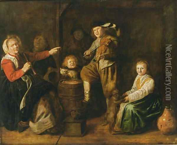An Interior Scene With Children Making Music Oil Painting - Jan Miense Molenaer