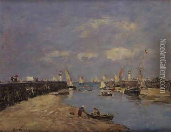 Trouville, Les Jetees Maree Basse Oil Painting - Eugene Boudin