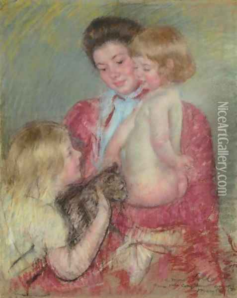 Reine Lefebvre With Blond Baby And Sara Holding A Cat (Maternite) Oil Painting - Mary Cassatt