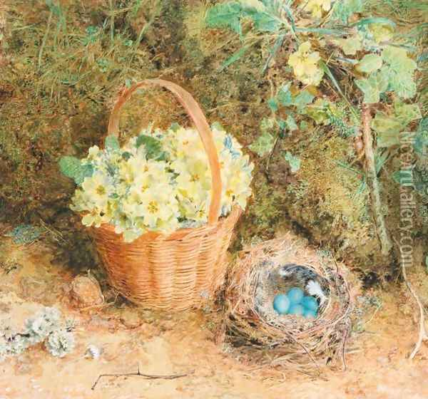 Primroses Oil Painting - William Henry Hunt