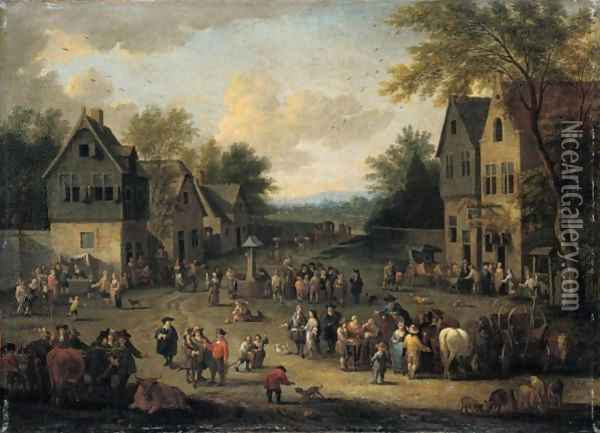 A Crowded Village Scene With Numerous Villagers And Animals Oil Painting - Adriaen Frans Boudewijns