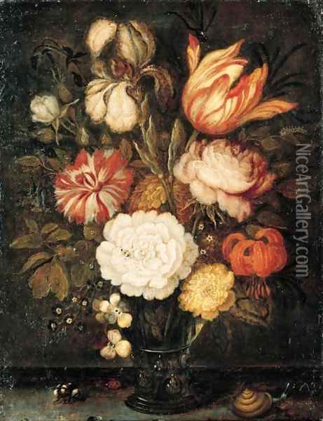 A Still Life With Roses, A Tulip, An Iris And Other Flowers Together In A Roemer On A Stone Ledge, With A Snail, A Bee And A Ladybird Oil Painting - Balthasar Van Der Ast