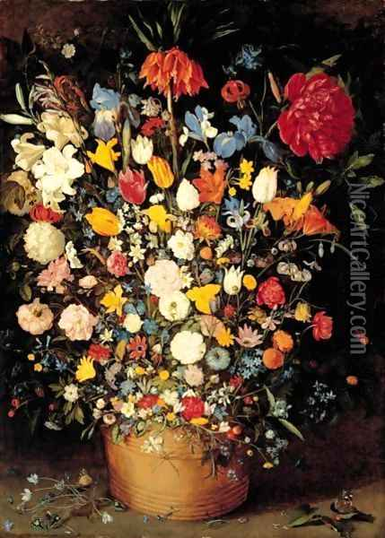 A Still Life Of Roses, Tulips And Other Flowers In A Wooden Tub Oil Painting - Jan Brueghel the Younger
