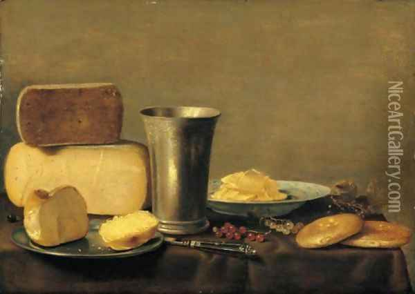 A Still Life Of Cheese, A Silver Beaker, Bread On A Pewter Dish, Butter In A Blue-And-White Bowl, Together With Red- And White-Currants, A Knife And Biscuits On A Table Draped With A Green Cloth Oil Painting - Floris Gerritsz. van Schooten